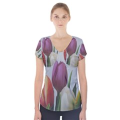 Tulips Short Sleeve Front Detail Top by picsaspassion