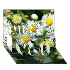 White Summer Flowers Oil Painting Art Miss You 3d Greeting Card (7x5) by picsaspassion