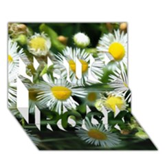 White Summer Flowers Oil Painting Art You Rock 3d Greeting Card (7x5) by picsaspassion