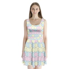 Colorful Honeycomb   Diamond Pattern Split Back Mini Dress  by picsaspassion
