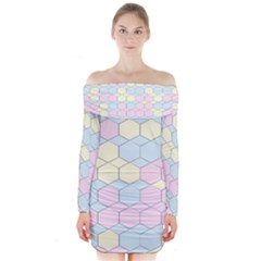 Colorful Honeycomb   Diamond Pattern Long Sleeve Off Shoulder Dress by picsaspassion