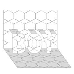 Honeycomb   Diamond Black And White Pattern Boy 3d Greeting Card (7x5) by picsaspassion