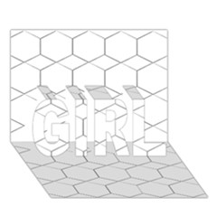 Honeycomb   Diamond Black And White Pattern Girl 3d Greeting Card (7x5) by picsaspassion