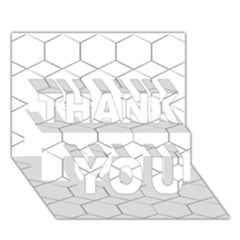 Honeycomb   Diamond Black And White Pattern Thank You 3d Greeting Card (7x5) by picsaspassion