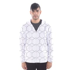 Honeycomb   Diamond Black And White Pattern Hooded Wind Breaker (men) by picsaspassion