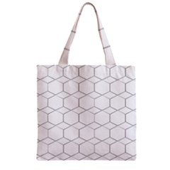 Honeycomb   Diamond Black And White Pattern Zipper Grocery Tote Bag by picsaspassion