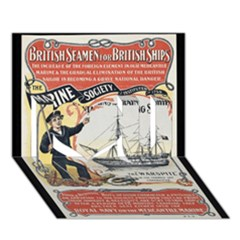 Vintage Advertisement British Navy Marine Typography I Love You 3d Greeting Card (7x5) by yoursparklingshop