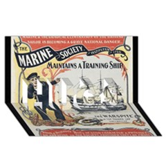 Vintage Advertisement British Navy Marine Typography HUGS 3D Greeting Card (8x4) by yoursparklingshop