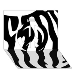Zebra Horse Skin Pattern Black And White Peace Sign 3d Greeting Card (7x5) by picsaspassion
