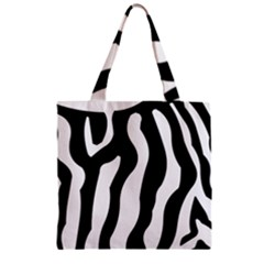Zebra Horse Skin Pattern Black And White Zipper Grocery Tote Bag by picsaspassion