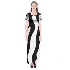 Zebra Horse Skin Pattern Black And White Short Sleeve Maxi Dress by picsaspassion