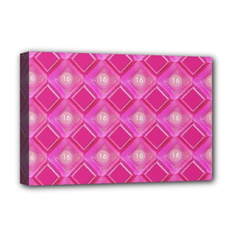 Pink Sweet Number 16 Diamonds Geometric Pattern Deluxe Canvas 18  X 12   by yoursparklingshop