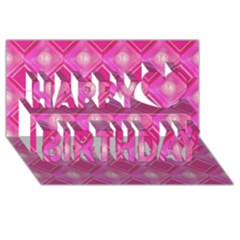 Pink Sweet Number 16 Diamonds Geometric Pattern Happy Birthday 3d Greeting Card (8x4)