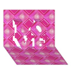 Pink Sweet Number 16 Diamonds Geometric Pattern Love 3d Greeting Card (7x5) by yoursparklingshop