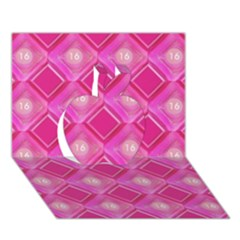 Pink Sweet Number 16 Diamonds Geometric Pattern Apple 3d Greeting Card (7x5) by yoursparklingshop