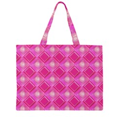 Pink Sweet Number 16 Diamonds Geometric Pattern Zipper Large Tote Bag by yoursparklingshop