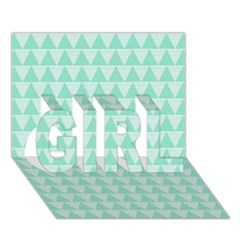 Mint Color Triangle Pattern Girl 3d Greeting Card (7x5)
