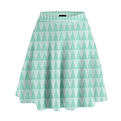 Mint Color Triangle Pattern High Waist Skirt by picsaspassion