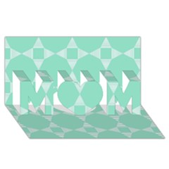 Mint Color Star   Triangle Pattern Mom 3d Greeting Card (8x4) by picsaspassion