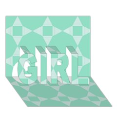 Mint Color Star   Triangle Pattern Girl 3d Greeting Card (7x5) by picsaspassion