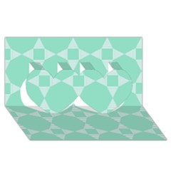 Mint Color Star   Triangle Pattern Twin Hearts 3d Greeting Card (8x4) by picsaspassion