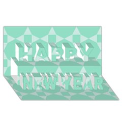 Mint Color Star   Triangle Pattern Happy New Year 3d Greeting Card (8x4) by picsaspassion