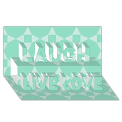 Mint Color Star   Triangle Pattern Laugh Live Love 3d Greeting Card (8x4) by picsaspassion