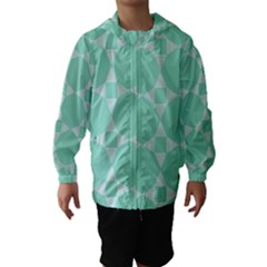 Mint color star - triangle pattern Hooded Wind Breaker (Kids) by picsaspassion
