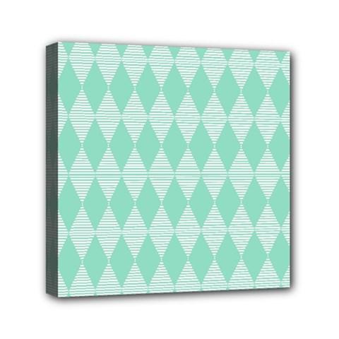 Mint Color Diamond Shape Pattern Mini Canvas 6  X 6  by picsaspassion