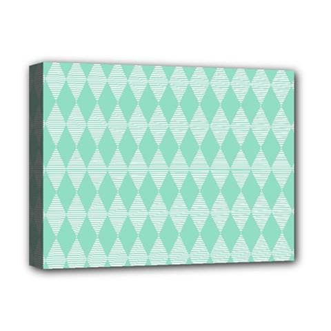 Mint Color Diamond Shape Pattern Deluxe Canvas 16  X 12   by picsaspassion
