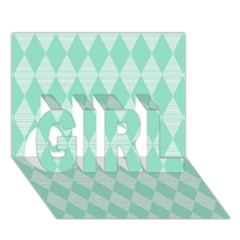 Mint Color Diamond Shape Pattern Girl 3d Greeting Card (7x5) by picsaspassion