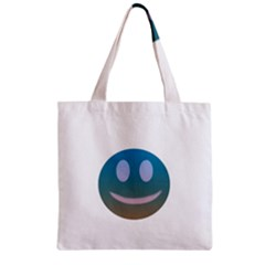 Smiley Zipper Grocery Tote Bag by picsaspassion