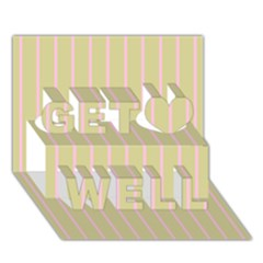 Summer Sand Color Pink Stripes Get Well 3d Greeting Card (7x5) by picsaspassion