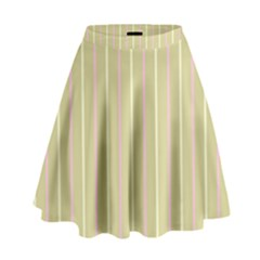 Summer Sand Color Pink And Yellow Stripes High Waist Skirt by picsaspassion