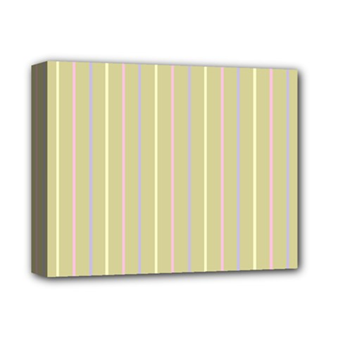 Summer Sand Color Lilac Pink Yellow Stripes Pattern Deluxe Canvas 14  X 11  by picsaspassion