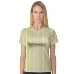 Summer Sand Color Lilac Pink Yellow Stripes Pattern Women s V Neck Sport Mesh Tee by picsaspassion