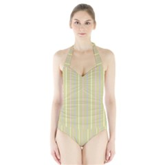 Summer Sand Color Lilac Pink Yellow Stripes Pattern Halter Swimsuit by picsaspassion