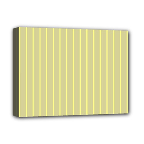 Summer Sand Color Yellow Stripes Pattern Deluxe Canvas 16  X 12   by picsaspassion
