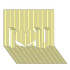 Summer Sand Color Yellow Stripes Pattern I Love You 3d Greeting Card (7x5)