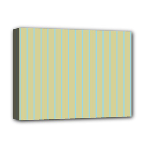 Summer Sand Color Blue Stripes Pattern Deluxe Canvas 16  X 12   by picsaspassion