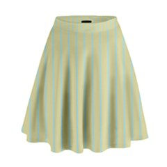 Summer Sand Color Blue Stripes Pattern High Waist Skirt by picsaspassion