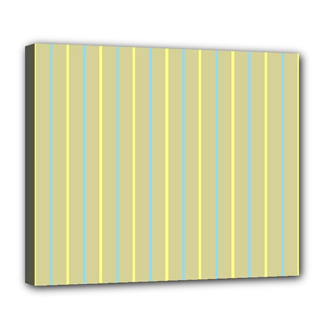 Summer Sand Color Blue And Yellow Stripes Pattern Deluxe Canvas 24  X 20   by picsaspassion