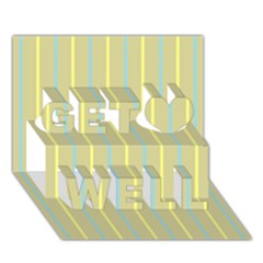 Summer Sand Color Blue And Yellow Stripes Pattern Get Well 3d Greeting Card (7x5) by picsaspassion