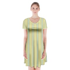 Summer Sand Color Blue And Yellow Stripes Pattern Short Sleeve V Neck Flare Dress by picsaspassion