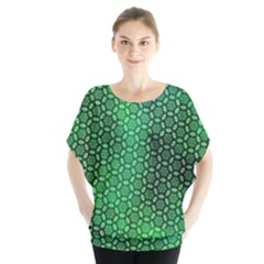 Green Abstract Forest Batwing Chiffon Blouse by DanaeStudio