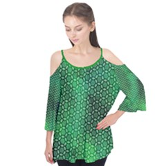 Green Abstract Forest Flutter Sleeve Tee  by DanaeStudio