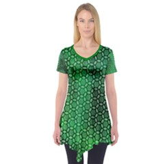 Green Abstract Forest Short Sleeve Tunic