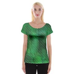 Green Abstract Forest Women s Cap Sleeve Top