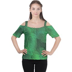 Green Abstract Forest Women s Cutout Shoulder Tee by DanaeStudio