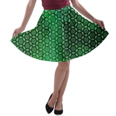 Green Abstract Forest A Line Skater Skirt